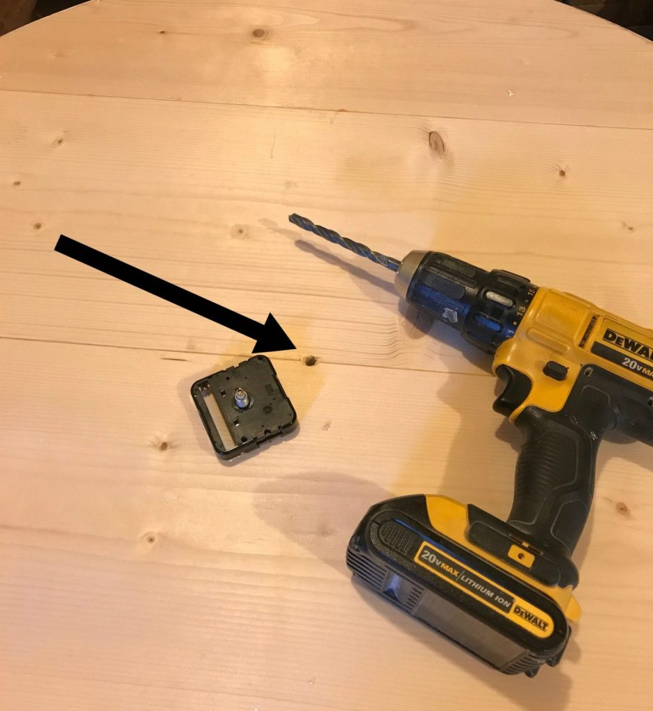Drill center hole in DIY wood clock