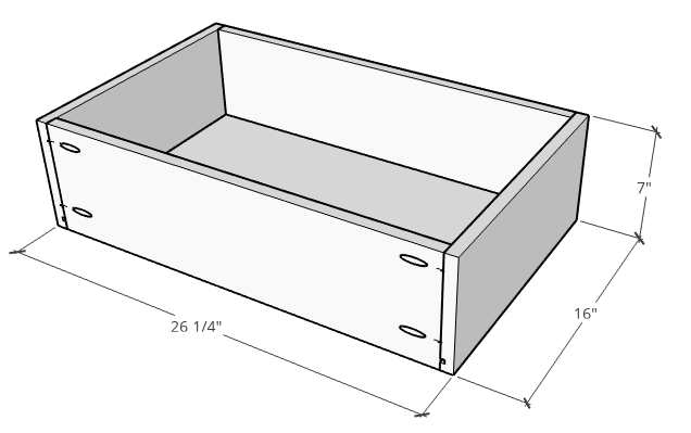 Floating vanity drawer box dimensions