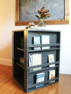 Get the free building plans for this DIY Four Sided Spinning Kid's Bookshelf