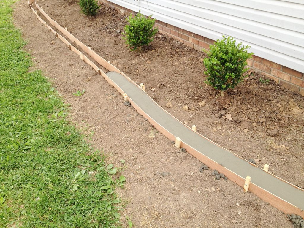 Updating Landscaping by adding a concrete edge
