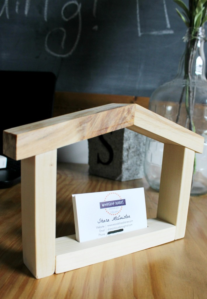 diy house shaped business card holder from scrap wood makes a great gift for real - Diy Business Card Holder