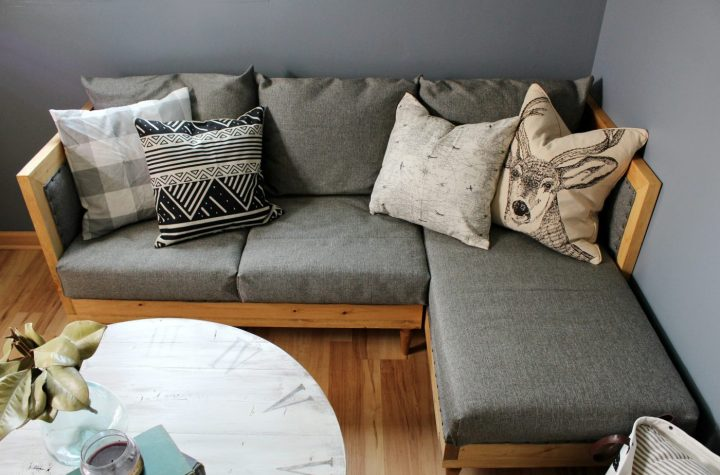 How to upholster a DIY couch--free building plans and upholstery tutorial
