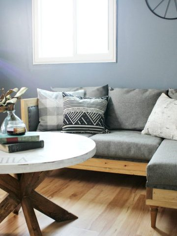 How to make a DIY upholstered couch in man cave room