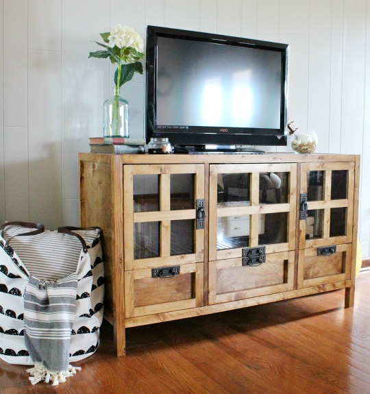 How to build your own DIY display media console cabinet and tv stand with drawer storage and glass panel doors!