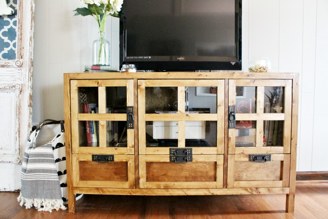 How To Build Your Own DIY Display Media Console Cabinet And Tv Stand With  Drawer Storage