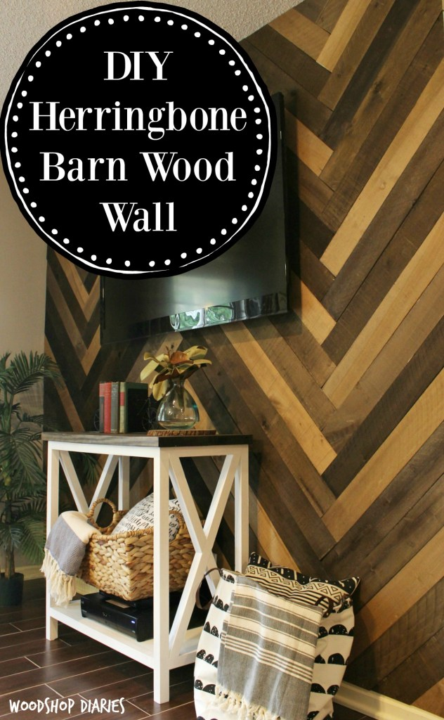 How to install a DIY Herringbone Barn Wood Wall! Easy step by step tutorial and it makes a gorgeous barn wood accent wall for any room in the house!