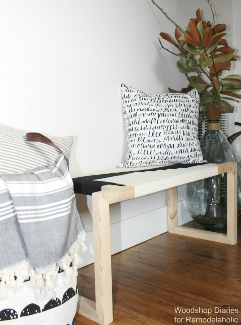 DIY Modern Woven Boho Style Bench
