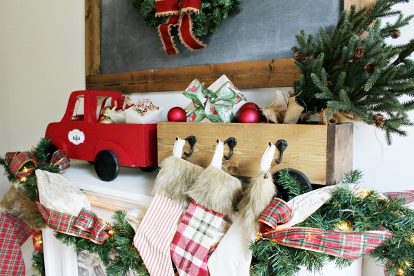 DIY Christmas stocking hanger box wooden truck and trailer