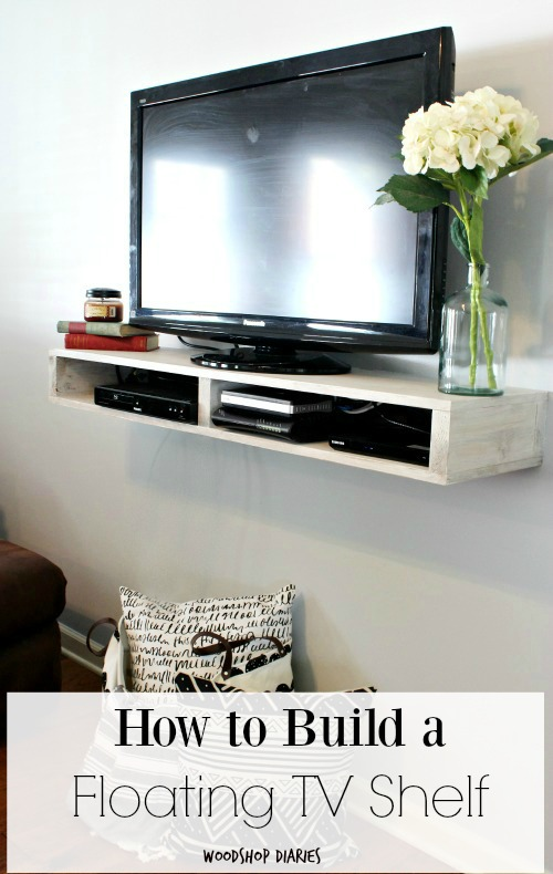How to build a simple modern easy DIY Floating TV Shelf with storage cubbies for DVD players and accessories--free building plans and tutorial. Great beginner woodworking project!