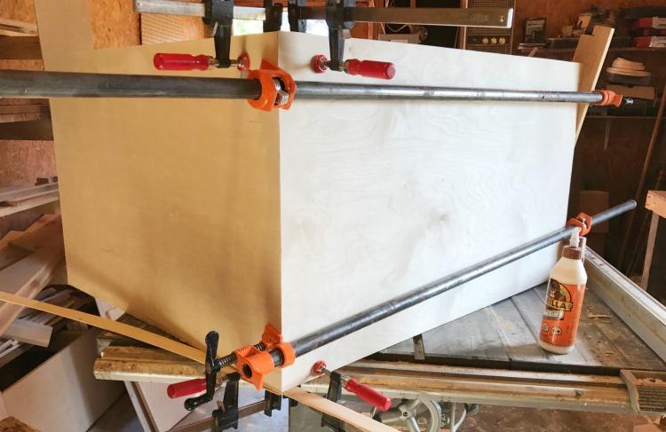 glue up diy mid century dresser carcass