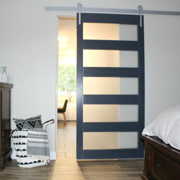 How to build your own DIY modern sliding door with mid century style frosted glass panes!