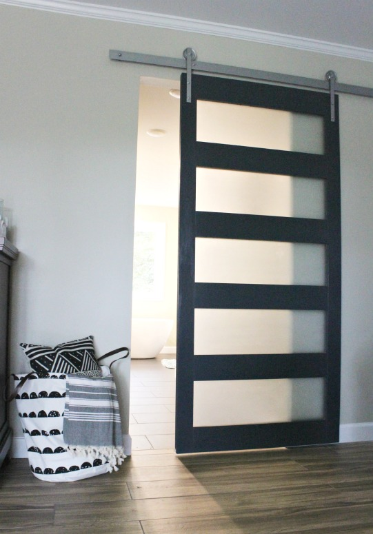 modern sliding doors. DIY Modern Sliding Door With Frosted Glass Panels Painted In Sherwin Williams Naval Doors