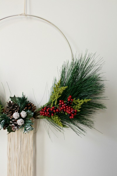 How to to make a DIY Modern Christmas Wreath with macrame hoop and a few floral stems--so easy and cheap and can be changed up for the seasons