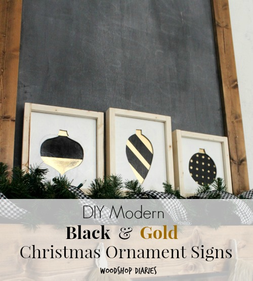 How to make these DIY Christmas Signs with black, white, and gold Christmas Ornament shapes from scrap wood. Perfect for modern or Scandinavian Christmas decor