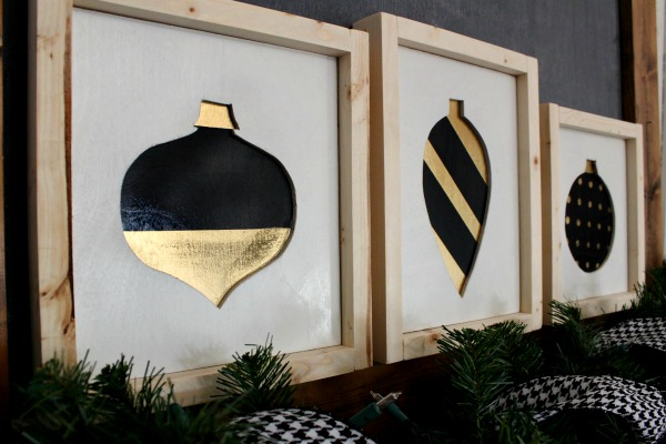 modern black and gold christmas ornament signs from scrap wood