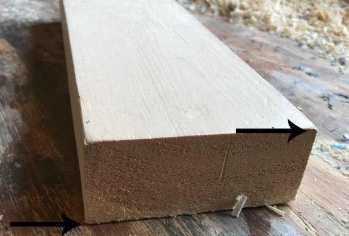 2x4 close up showing rounded edges