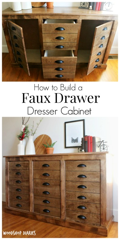 How to Build a DIY Faux Drawer Dresser Cabinet that looks like a DIY apothecary cabinet--free building plans and tutorial!