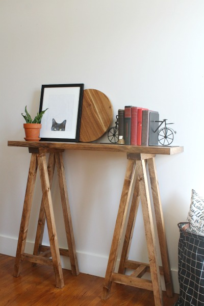 DIY Sawhorse Console Table--Modern Farmhouse Decor--Stained in Minwax Special Walnut