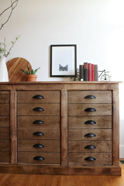 DIY Fake Drawer Dresser Cabinet--Faux DIY apothecary cabinet