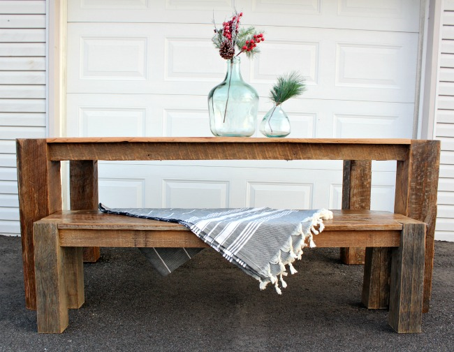 DIY barn wood dining table and bench set--reclaimed barn wood table