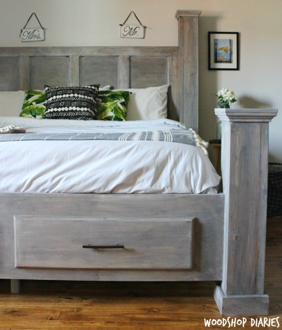 Diy king size beds Box How To Build Diy Farmhouse Storage Bed Woodshop Diaries Diy Farmhouse Storage Bedfree Woodworking Plans And Video Tutorial