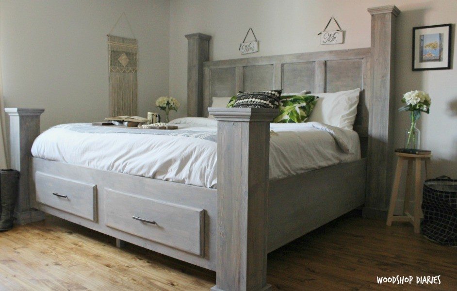 Diy Farmhouse Storage Bed Free Woodworking Plans And Video Tutorial