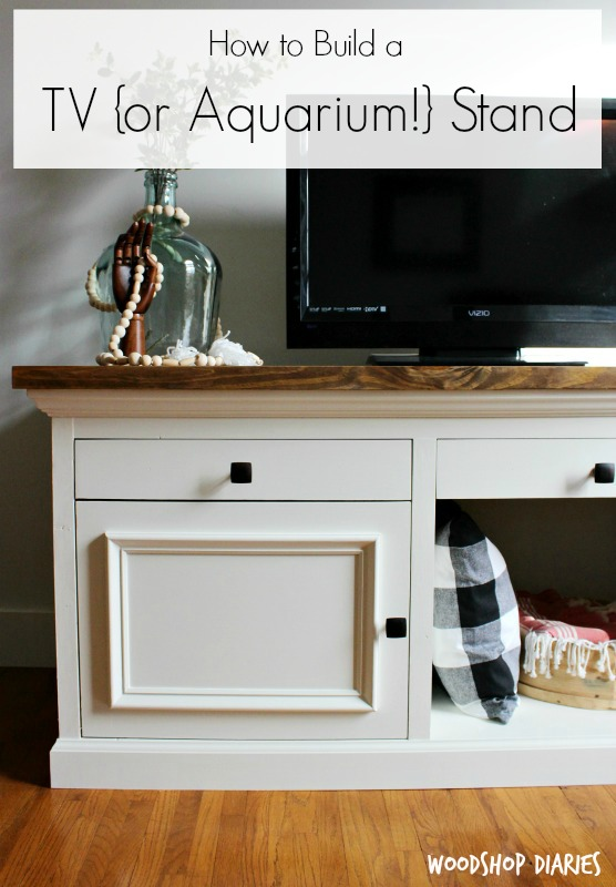 How to build a DIY TV Cabinet Stand that's sturdy enough for an aquarium stand! Free Woodworking plans and video tutorial