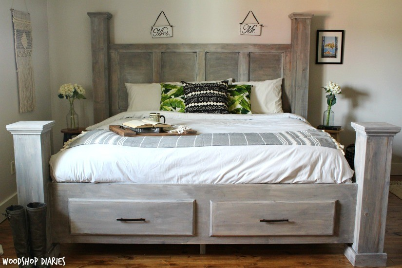 DIY Farmhouse Storage Bed--Free Woodworking Plans And