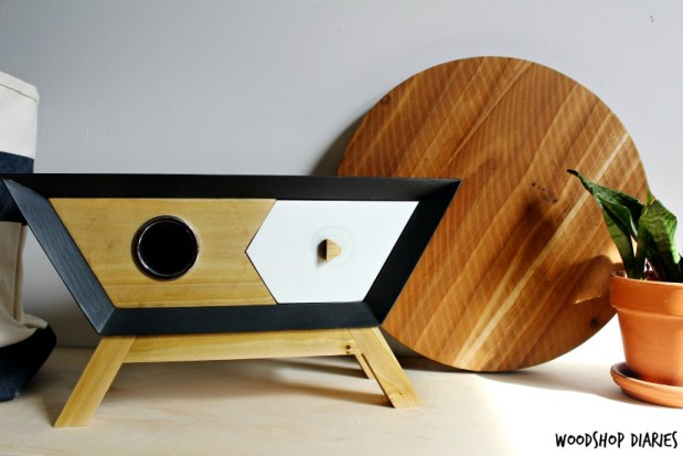 DIY Wireless Bluetooth Wooden Speaker Box--Looks like a retro mid century credenza and it's even got a hidden compartment for cord storage!