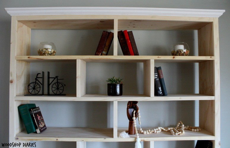Stand alone unfinished Modern DIY Bookshelf with offset dividers