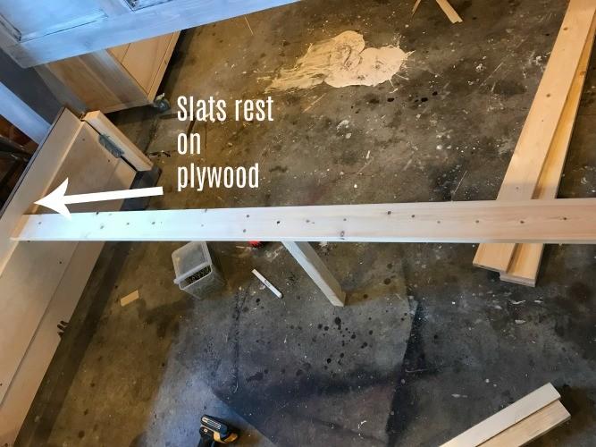 Slats placed along side rails of storage bed frame