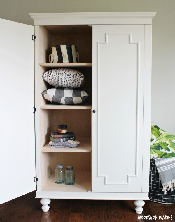 how to build a diy wardrobe armoire storage cabinet with shelves rh woodshopdiaries com