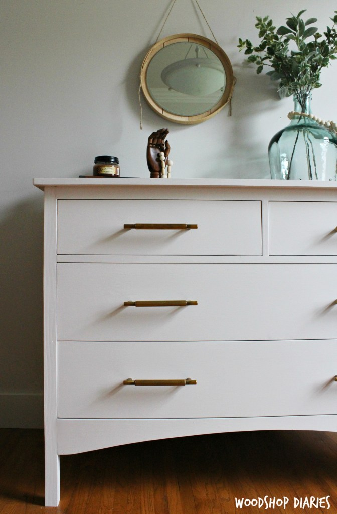 DIY White Vintage Inspired Dresser with Brass Drawer Pulls and Plenty of Storage