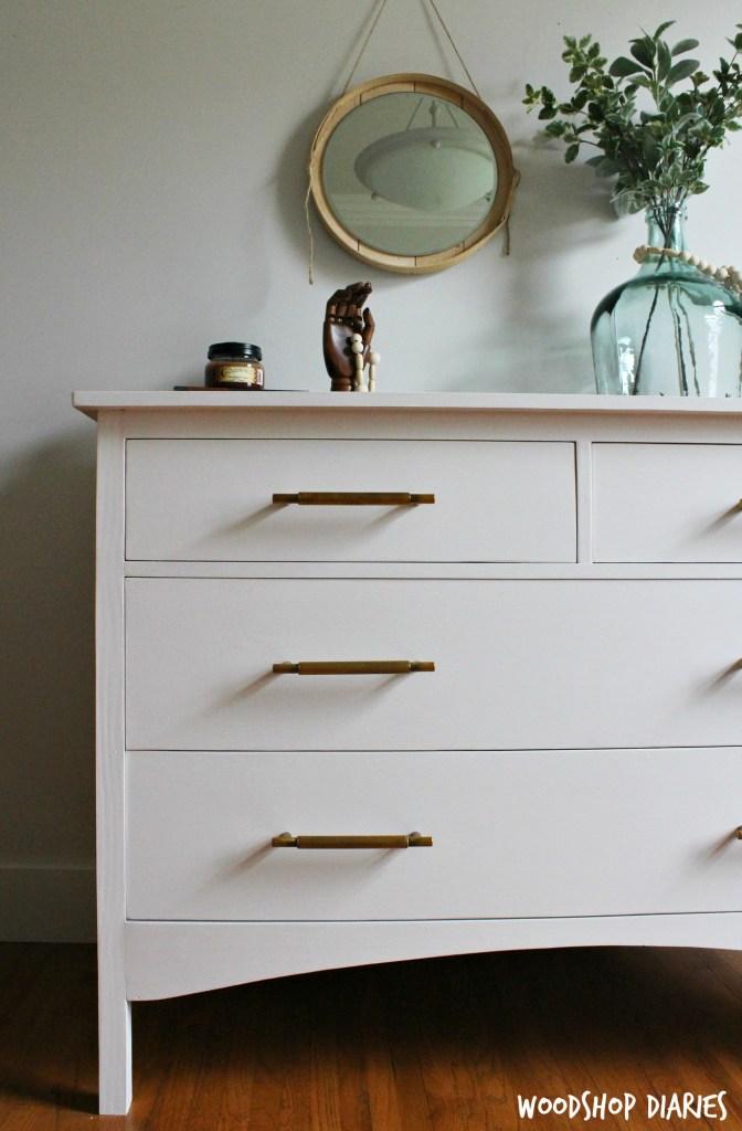 DIY White Vintage Inspired Dresser with Brass Drawer Pulls and Plenty of Storage