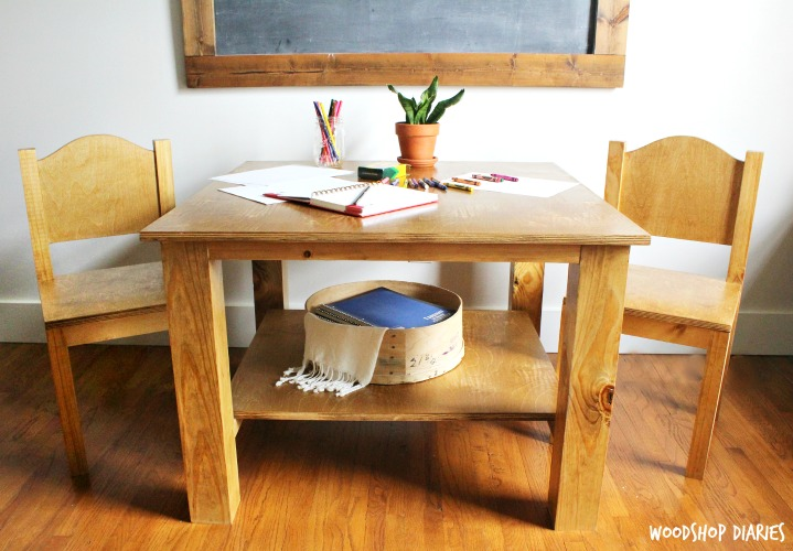 How To Build A DIY Childs Table And Chairs With Shelf