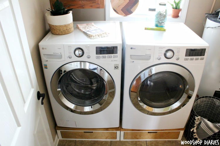 How to Build Your Own DIY Washer and Dryer Stands with Drawer Storage