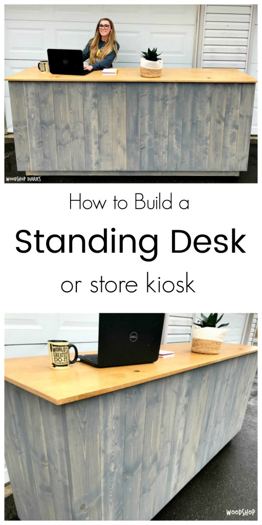 How to build your own DIY standing desk with planked sides! Could also be used for a store kiosk desk or display. The contrasting colors between Minwax Golden Oak and Rustoleum Weathered Grey give it s fun farmhouse feel.
