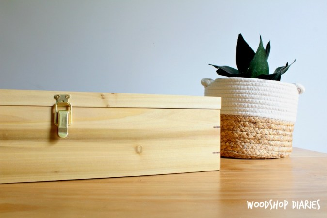 front view of DIY picture frame keepsake box with splines on corners