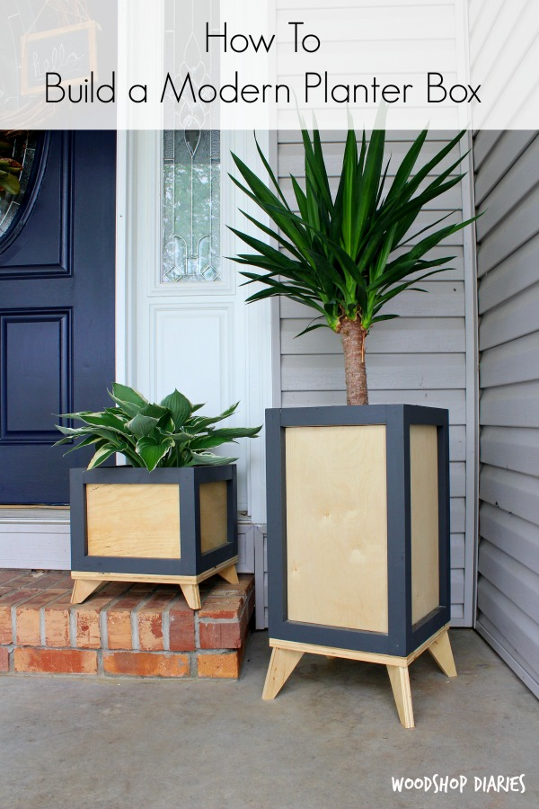 Want to add some modern flare to your outside (or even inside!) decor? Grab the free building plans to build your own DIY Modern Planter Boxes and check out this quick tutorial video here! These DIY plant stands would look great on a modern front porch or even inside the house to show off your favorite house plants. Easily customizeable to make in any size you want--get the free woodworking plans here.