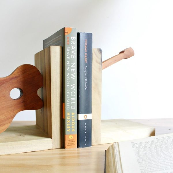 Quick and easy scrap wood bookends shaped like a guitar