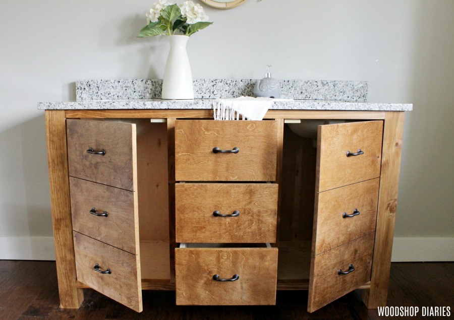 how to build a faux drawer bathroom vanity to maximize storage space. Black Bedroom Furniture Sets. Home Design Ideas