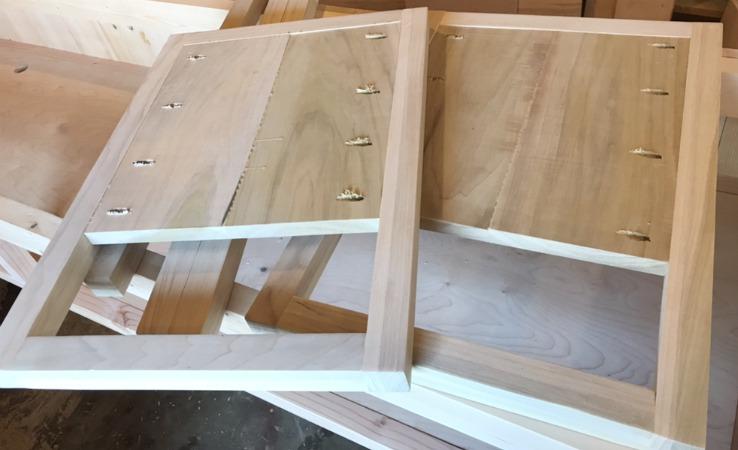 Inside of side panels assembled for DIY modern nightstand
