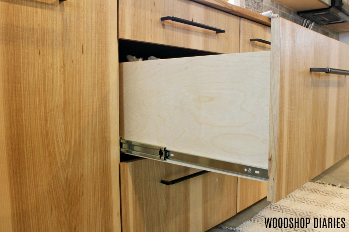 Frameless Overlay drawer front kitchen cabinet example
