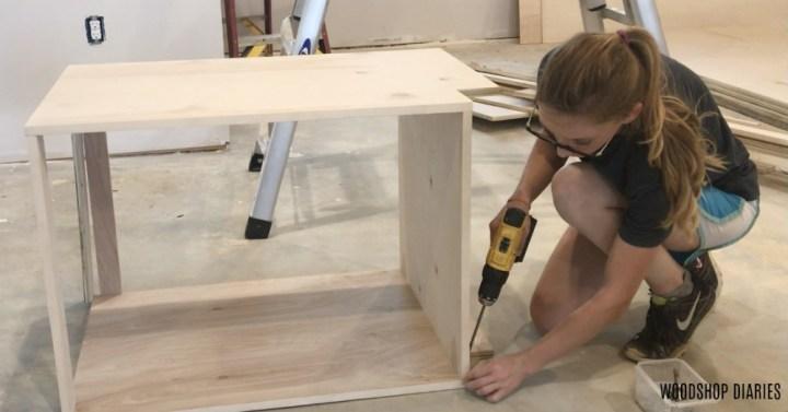Assembling DIY base cabinet carcass plywood box
