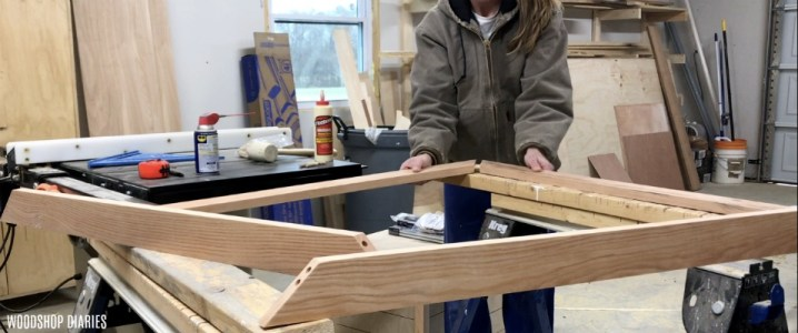 Assembling one corner of DIY custom picture frame using dowels and wood glue
