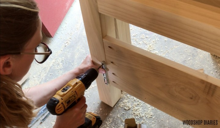Install slotted bracket into head and foot board