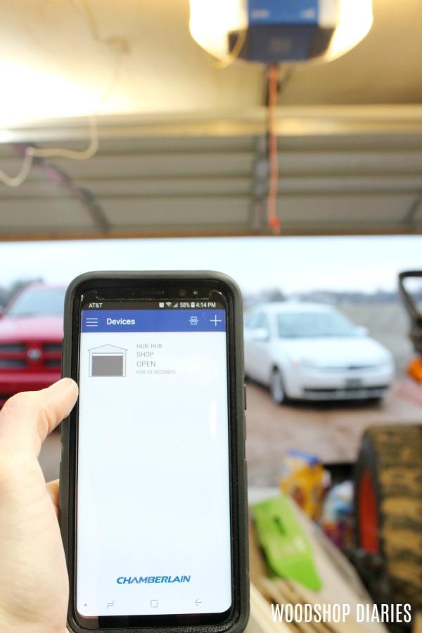 Garage Door Opener App >> Garage Door Opener App Door Open Woodshop Diaries