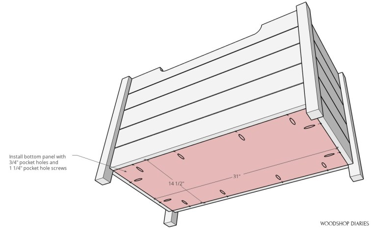 Bottom panel diagram for installation into toy box