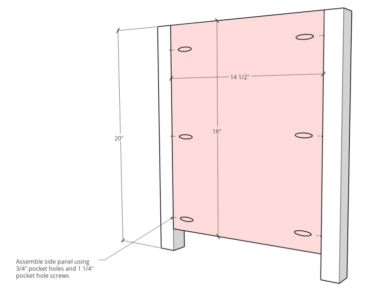 Side panel diagram of toy box