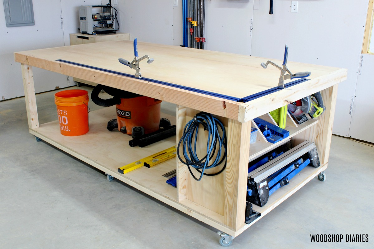 Picture of: How To Build A Diy Mobile Workbench 3 In1 Storage Outfeed Assembly